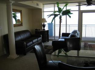 Luxury Ocean Front Living Room - Myrtle Beach Beach House Rentals - Ocean Blue Resort Myrtle Beach