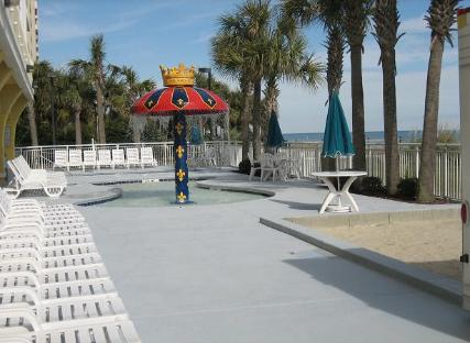 Camelot by The Sea outdoor kiddie pool with mushroom water fountain