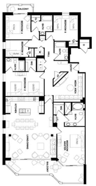 OCEAN BLUE - Floor Plan - 5 Bedroom Condo - Myrtle Beach Vacation Rentals - www.JeffsCondos.com