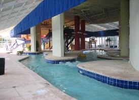 Lazy River and water slide at Dunes Village Resort in Myrtle Beach - Largest indoor water park in all of Myrtle Beach SC